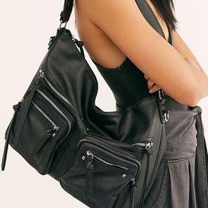 Free People Black Alexandra Moto Hobo Bag